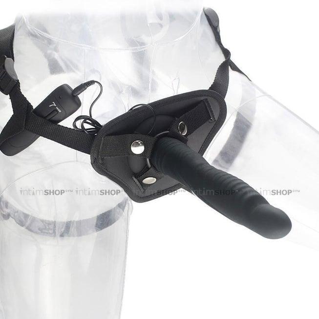 Вибрострапон Aphrodisia Strap-on Ripple Dildo Vibe 17 см, черный