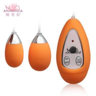 Виброяйцо с пультом Aphrodisia Xtreme-10F Dual Eggs, оранжевый