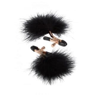 Зажимы для сосков с пухом California Exotic Novelties Feather Nipplettes, золотисто-черный